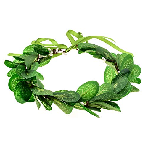 (June Bloomy Greenery Leaf Crown Rustic Wedding Headpiece Bridal Headband Photo Prop (A-Green))