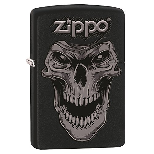Zippo Custom Design Lighter Skull Face Black Matte Windproof Collectible Lighter. Made in USA Limited Edition & Rare