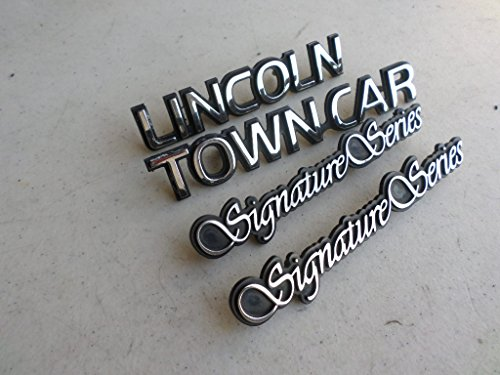 Series Lincoln Signature (97 Lincoln Town Car Signature Series Side Door Fender F7VB-16B114-BB Rear Trunk Emblem Logo Nameplate Decal Set of 4)