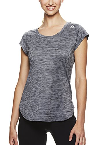 Reebok Women's Legend Performance Short Sleeve T-Shirt with Polyspan Fabric,Black Heather,X-Small by Reebok (Image #1)