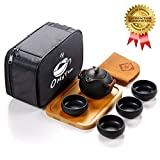 OMyTea 100% Handmade Chinese / Japanese Vintage Kungfu Gongfu Tea Set - Porcelain Teapot & Teacups & Bamboo Tea Tray & Tea Mat with a Portable Travel Bag (Black)