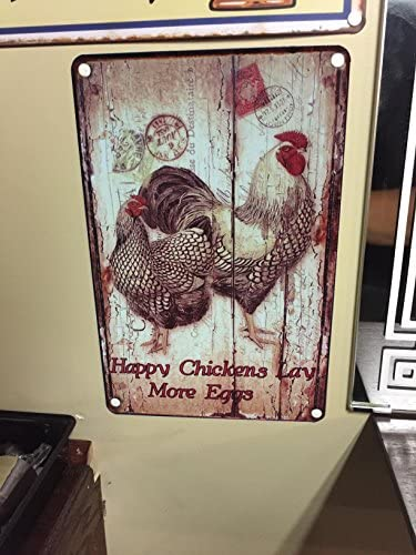 Amazon.com: Happy gallinas, gallo metal Tin Sign Estilo ...