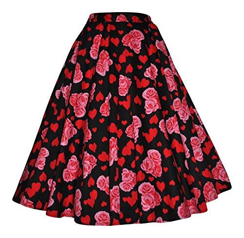 Para mujer 59436 cm s estilo Vintage diseño de corazón y diseño de impresión diseño de rosas completo de cartuchos de tinta Circle Swing Rockabilly Jive para faldas