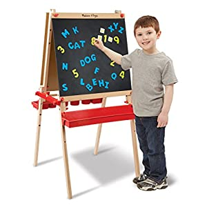 "Melissa & Doug Deluxe Magnetic Standing Art Easel (Arts & Crafts, Sturdy Wooden Construction, 3 Adjustable Heights, Easy-Turn Knobs, 47"" H x 27"" W x 26"" L)"