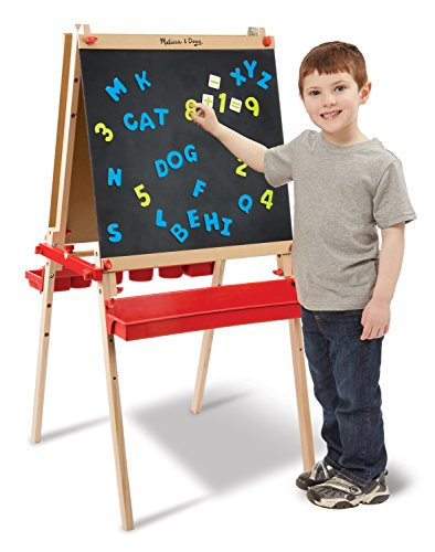 Melissa & Doug Deluxe Magnetic Standing Art Easel (Arts & Crafts, Sturdy Wooden Construction, 3 Adjustable Heights, Easy-Turn Knobs, 47