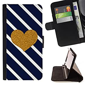 For Samsung Galaxy S4 IV I9500 Heart Lines Navy Blue Glitter Love Valentines Style PU Leather Case Wallet Flip Stand Flap Closure Cover