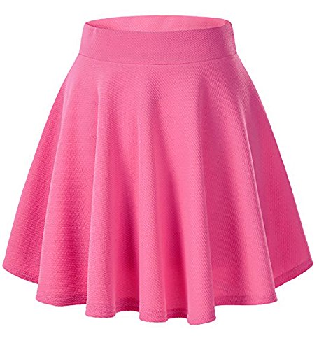 - Moxeay Women's Basic A Line Pleated Circle Stretchy Flared Skater Skirt (Medium, Rose)