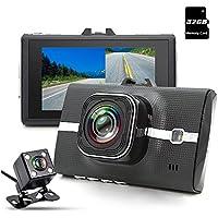 junsun Car Camera Dash Cam Full HD 1080P Dual Lens 170° Car DVR Night vision, LDWS, G-Sensor, Automatic Loop, Cycle Recording with Rear View Camera