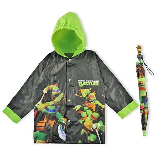 Nickelodeon Little Boys' Tmnt Slicker and Umbrella Set, Black, Age 2-3