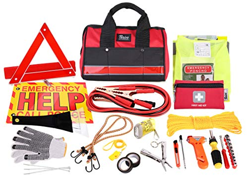 - Thrive Auto Emergency Kit + First Aid Kit - Car Accessories Roadside Assistance & Survival Rugged Tool Bag with Jumper Cables, Reflective Safety Triangle and More - Cars Travel & Tow Essentials