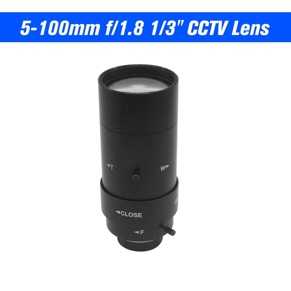 OWSOO 5-100mm CCTV Lens CS F1.8 Lens 1/3'' Manual Iris & Focal Length Lens Varifocal Zoom CS-Mount Lens for Security CCTV Camera by OWSOO
