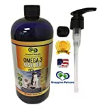 Omega-3 Fish Oil Liquid for Pets - 100% Pure & Natural Omega 3 Fish Oil for Dogs & Cats - 32oz Snappies Unscented Liquid Fish Oil for Cats & Dogs Comes with Mess Free Pump & Pouring Cap