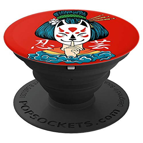 Kitsune mask fox ninja girl geisha japanese culture art - PopSockets Grip and Stand for Phones and Tablets ()