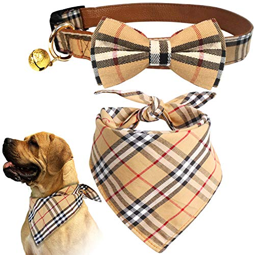 KUDES 2 Pack Cat and Dog Collar Breakaway and Bandana Set with Bell, Adjustable Plaid Bowtie and Scarf Triangle Bibs Kerchief for Small/Medium/Large Dogs (Plaid, ()
