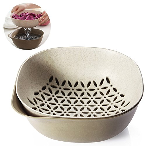 Oak-Pine 2-in-1 Multipurpose Plastic & Wheat Straw Drain Basket Bowl Food Wash Strainers Collapsible Colanders Kitchen Strainer for Vegetables Fruit Kitchen Tool (Kahki)