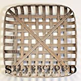 Silvercloud Trading Co. Tobacco Basket, Farmhouse Decor, Large 25'' Square