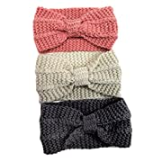 Serai Style 3 Pack Women Stretchy Bow Knitted Headband Ear Warmer Headwrap (3 Pieces)