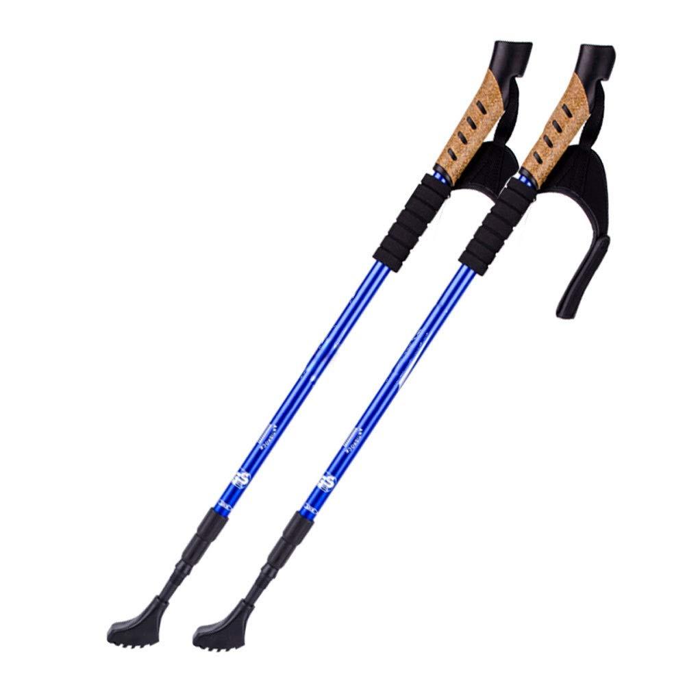 伸縮杖屋外滑り止め杖アルミ杖登山杖伸縮流動性調節可能な高さ62135 cmロッド (色 : 青)  青 B07S4LT1GG