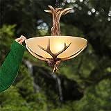 OOFAY LIGHT® Vintage Chandelier Deer Horn Resin Single Head American Rural Countryside Antler Bedroom Living Room Pendant Lamp
