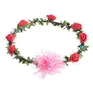 Allywit LED Flashing Roses Flower Crown Headbands Artificial Hair Wreath for Women Girls Holiday Wedding Christmas Halloween Party 54