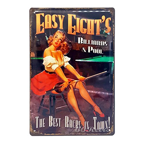 (Easy Eight's Billiards & Pool, Retro Embossed Metal Tin Sign, Wall Decorative Sign)