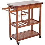 Delightful HOMCOM Wooden Rolling Storage Microwave Cart Kitchen Trolley With Drawers