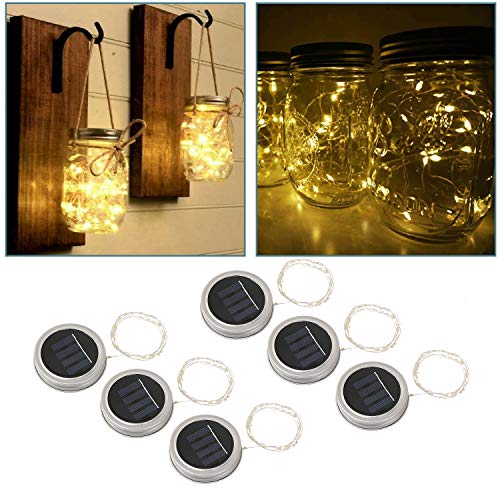 Solar Mason Jar Lid Lights, STYDDI 6 Pack 20 Led String Fairy Star Firefly Jar Lids Lights fit Regular Mouth Mason Jar best for Patio Yard Garden Party Wedding Christmas Decorative Lighting (Warm Whit