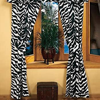 Zebra Print Window Panel Curtains, Set of 2