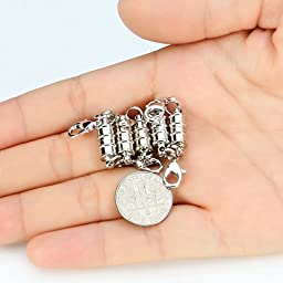 BEADNOVA Silver Plated Magic Magnetic Clever Clasp Built-In Safety Magnetic Lock with Lobster Clasp
