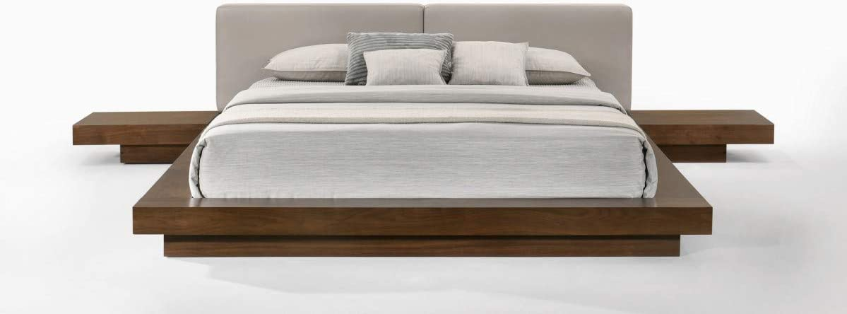 Limari Home Albina Collection Modern Style Bedroom Walnut Veneer Finished Leatherette Upholstered Platform Low Profile Bed, Queen, Brown, Gray