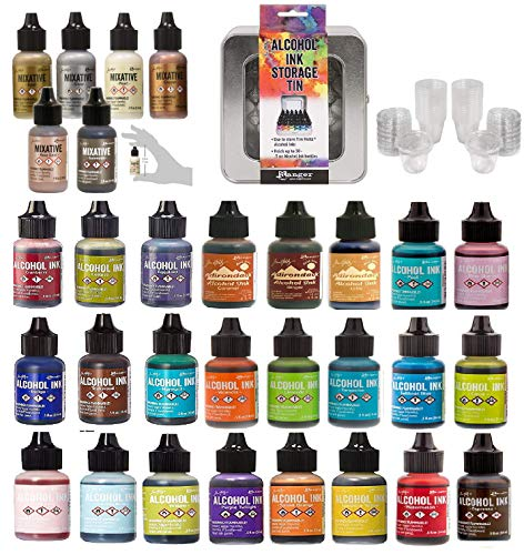 (Ranger Tim Holtz Bundle Alcohol Ink x 24 Colors Metallic Mixatives 6 Colors: Silver, Gold, Rose Gold, Gunmetal, Pearl, Copper, Storage Tin and Regent Cups )