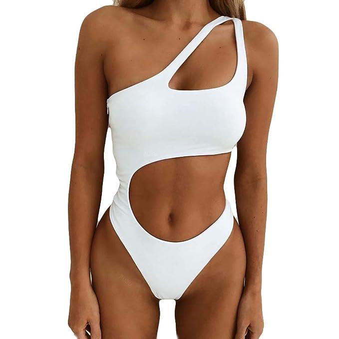 Modaworld Trajes de baño de una Pieza Mujer Bikini de Playa con diseño Ahuecado de Mujer Bikini brasileño Push up bañadores Mujer
