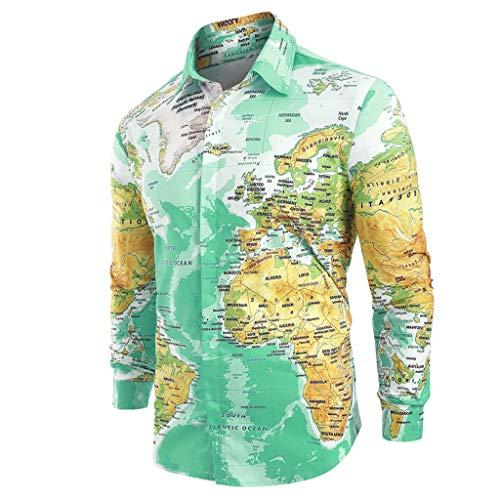 Sweatshirt Military Logo (Men Hawaiian Shirt Long Sleeve 3D Novelty Funny Map Print Slim Fit Beach Paisley T-Shirts (XXL, Green))