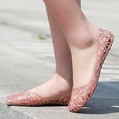 3d094f409e22 ITTXTTI Ms. Sandals Summer Hole Shoes Hollow Plastic Crystal Jelly Shoes  Flat Heel Sandals Flat Sandals