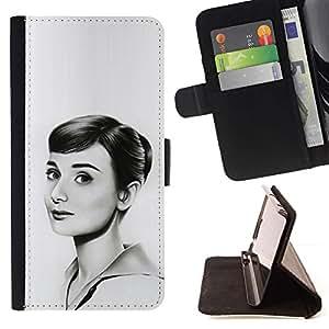 Momo Phone Case / Flip Funda de Cuero Case Cover - HEPBURN - DIBUJO HERMOSA - HTC One M9