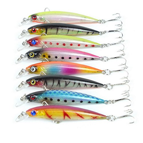 aorace 8 pcs/Lot 8.5cm 7.2G Deep Saltwater Fishing Lures Squid Laser Salwater 3D Minnow Fishing Lures Salt Swimbait Wobbler
