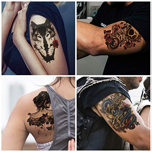 Everjoy Garish Large Sleeve Temporary Tattoos - 8 Sheets, Colorful, Gangster, Cool Body Art Tattoo Stickers for Adults, Women, Men, Boys and Girls -