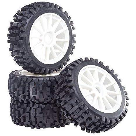 Buggy Neumáticos Set de Llantas Attack con 10 - Ruedas radios Blanco 1:8 partCore 320022: Amazon.es: Juguetes y juegos