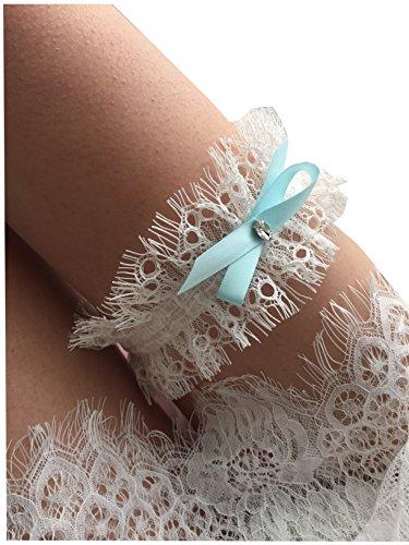 Bridal Bow - YuRong Wedding Garter Krystal Bow Lace Garter Bridal Garter G05 (Sky blue)