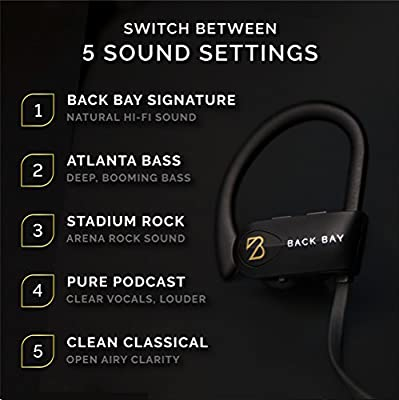 "Back Bayâ""¢ - American EQ 30 - Wireless Bluetooth Earbuds. Waterproof Headphones with 5 EQ Sound Modes, Microphone, 8-Hour Battery, Earphone Hooks and Carrying Case"