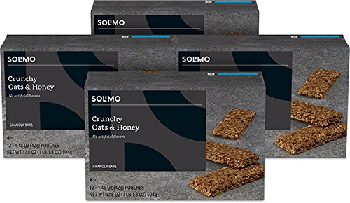 Amazon Brand - Solimo Crunchy Oats & Honey Granola Bar, 12 Count (Pack of 4)