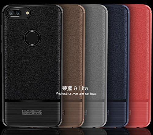 Funda Huawei Honor 9 Lite,Funda Fibra de carbono Alta Calidad Anti-Rasguño y Resistente Huellas Dactilares Totalmente Protectora Caso de Cuero Cover Case Adecuado para el Huawei Honor 9 Lite B