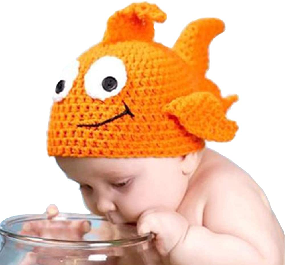 Shark strawberry Cute Baby Newborn Photography Props Goldfish hat Costume Crochet Knitted hat