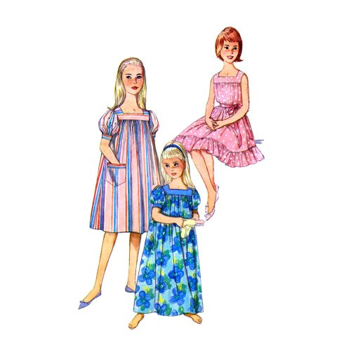 Simplicity 3938 Girls Muu Muu Nightgown Vintage Sewing Pattern Size 10 Breast 28 Check Offers for Size