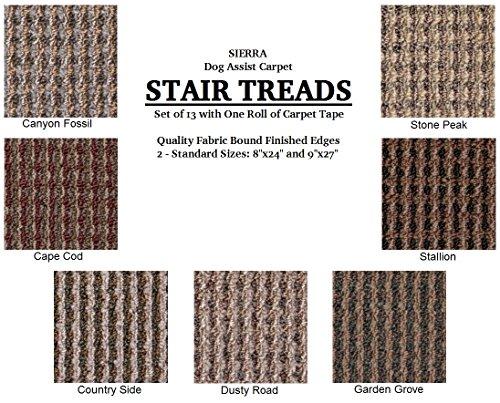 Cheap 9″x27″ Dog Assist Carpet Stair Treads – SIERRA – Set of 13 w/ 1 Roll Carpet Tape (Cape Cod)