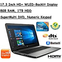 2017 Edition HP 17.3 Inch HD+ (1600x900) SVA BrightView High Performance WLED-Backlit Laptop, Intel Core i3-6100U 2.3GHz, 8GB RAM, 1TB HDD, Win10