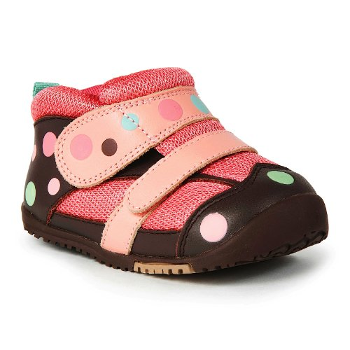 Momo Baby First Walker/Toddler Polka Dots Brown Leather Sneaker Shoes - 5.5 M US Toddler