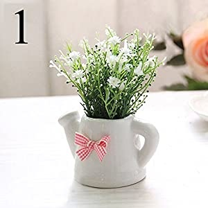 FYYDNZA Small Artificial Plants Decorative Gypsophila Flowers Mini Potted Kettle Bonsai 1 Set (Plants + Vase) 14