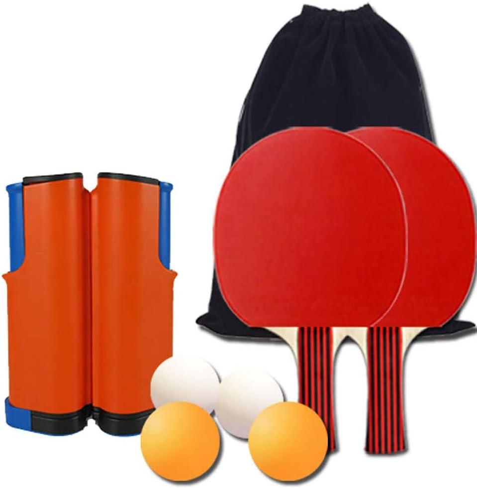 RXDRO Juego De Ping Pong Set, con Red RetráCtil (Clip De Soporte) 2 Raquetas De Tenis De Mesa 4 Pelotas, Transporte Adecuado para Cancha Interior O Exterior