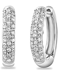 14K Diamond Earrings In-Out Huggies (0.25TDW,G-H Color,I1 Clarity)15.5MM